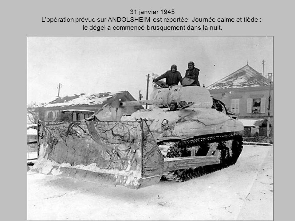 30 janvier 1945 Quatrième nuit dehors. Le froid augmente encore, atroce cette fois-ci. LEscadron passe à HOLTZWIHR, WICKERSWIHR. traverse le CANAL et