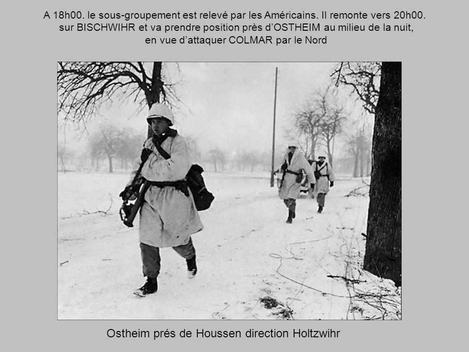 1er février 1945 Lescadron, à neuf chars, nettoie les bois qui séparent FORTSCHWIHR de NEUF-BRISACH. Attaque normale, sans pertes; peu de prisonniers: