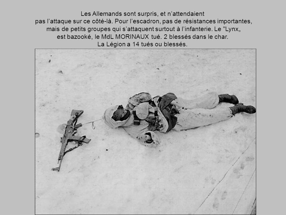 2 février 1945 A 06h30 le sous-groupement démarre. Le CC 4 attaque COLMAR. Le sous-groupement de PREVAL doit traverser, la ville en vitesse, nord-sud,