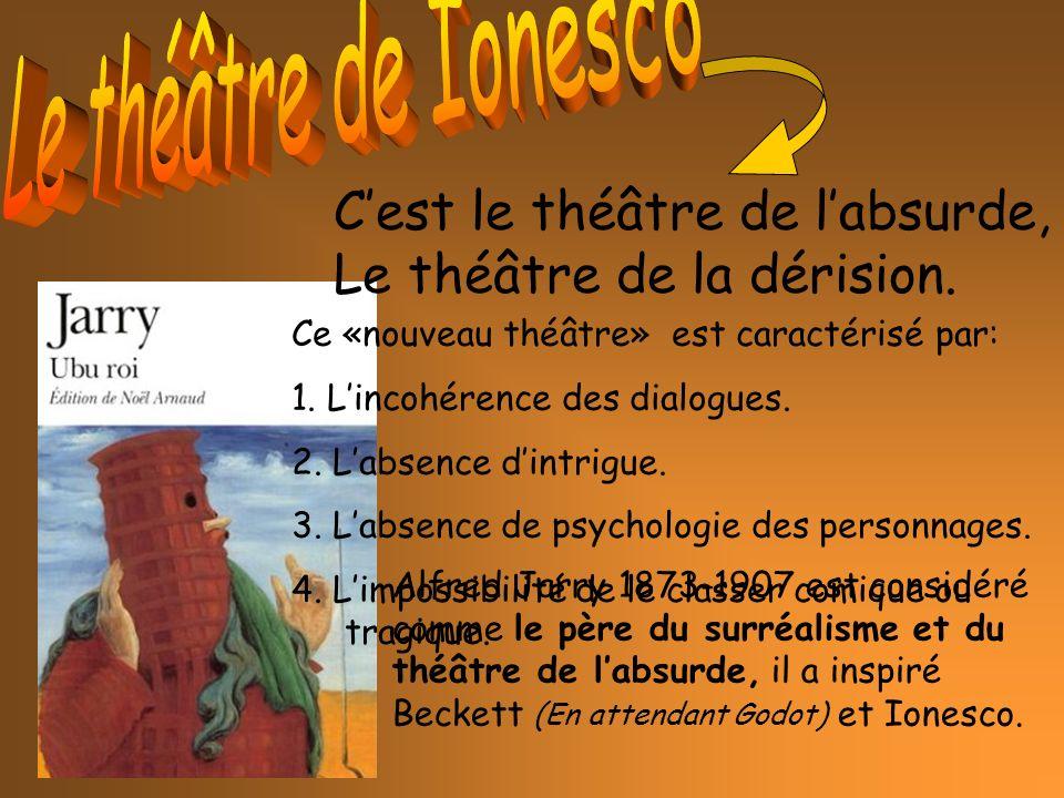 Alfred Jarry 1873-1907 est considéré comme le père du surréalisme et du théâtre de labsurde, il a inspiré Beckett (En attendant Godot) et Ionesco.