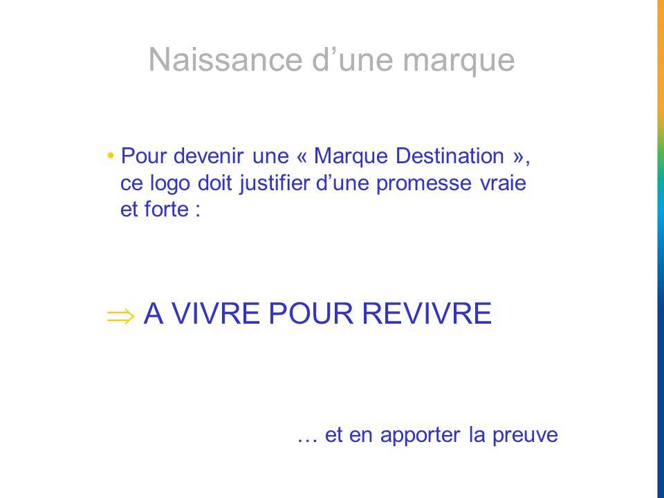 Pour devenir une « Marque Destination », ce logo doit justifier dune promesse vraie et forte : A VIVRE POUR REVIVRE … et en apporter la preuve Naissan