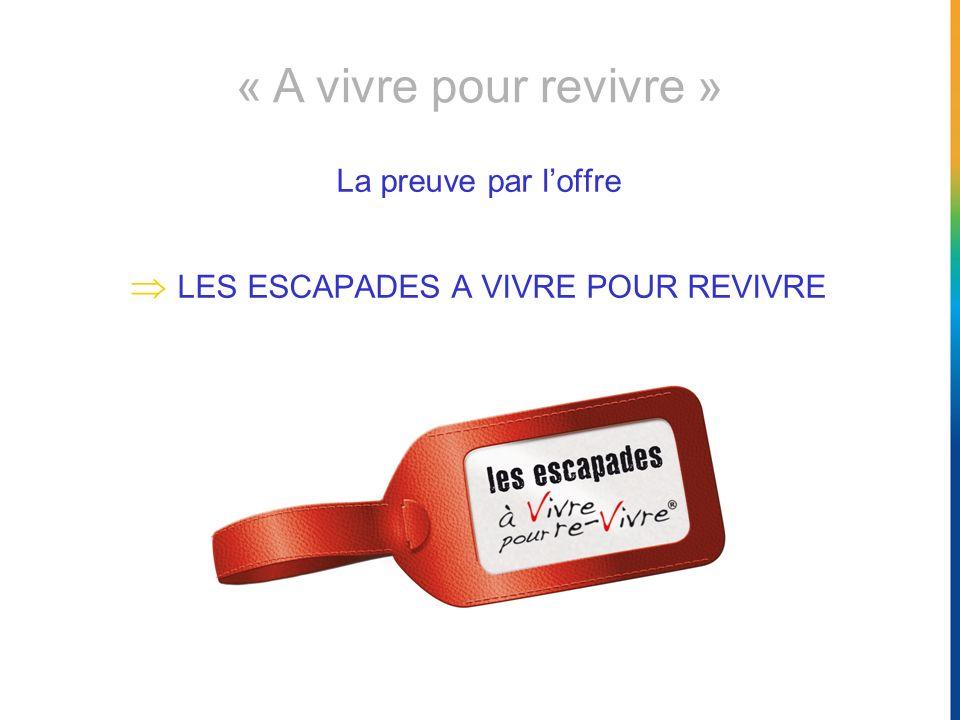 La preuve par loffre LES ESCAPADES A VIVRE POUR REVIVRE « A vivre pour revivre »