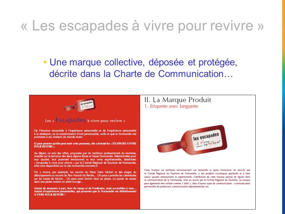 Une marque collective, déposée et protégée, décrite dans la Charte de Communication… « Les escapades à vivre pour revivre »