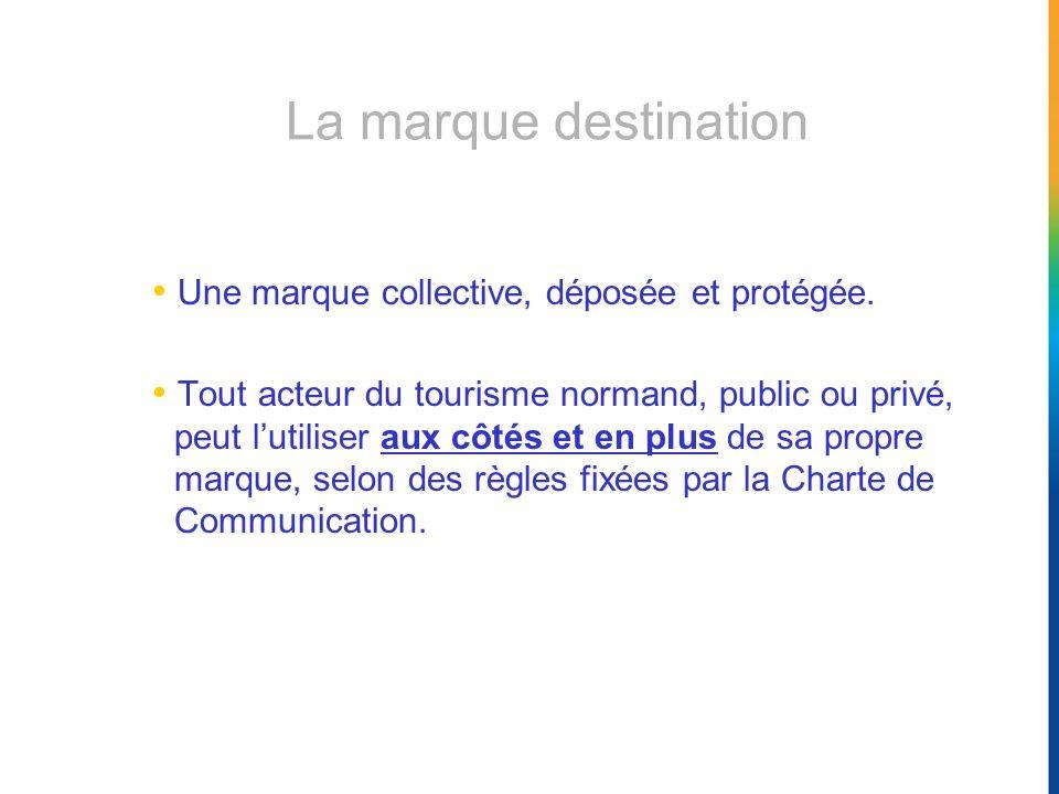 La marque destination Une marque collective, déposée et protégée. Tout acteur du tourisme normand, public ou privé, peut lutiliser aux côtés et en plu