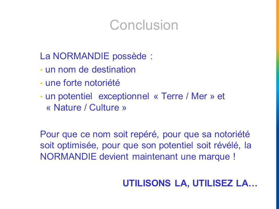 Conclusion La NORMANDIE possède : un nom de destination une forte notoriété un potentiel exceptionnel « Terre / Mer » et « Nature / Culture » Pour que