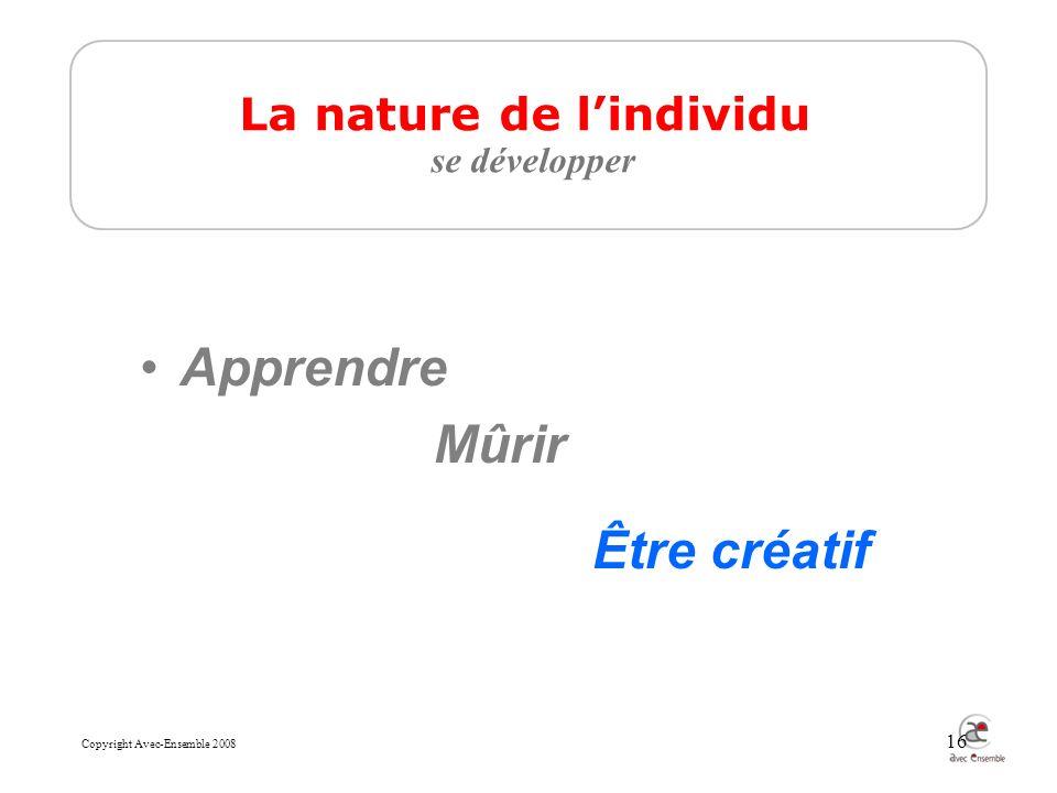 Copyright Avec-Ensemble 2008 16 Apprendre Mûrir Être créatif La nature de lindividu se développer