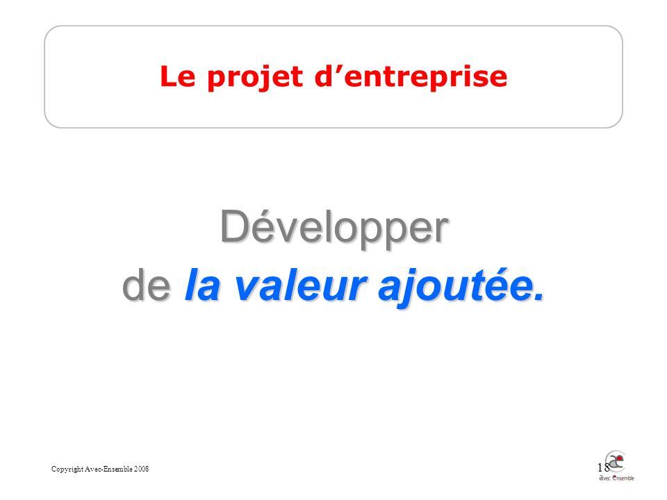 Copyright Avec-Ensemble 2008 18 Le projet dentreprise Développer de la valeur ajoutée.