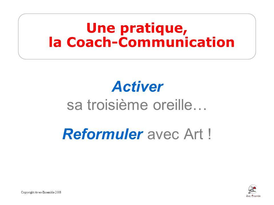 Copyright Avec-Ensemble 2008 2 Une pratique, la Coach-Communication Activer sa troisième oreille… Reformuler avec Art !