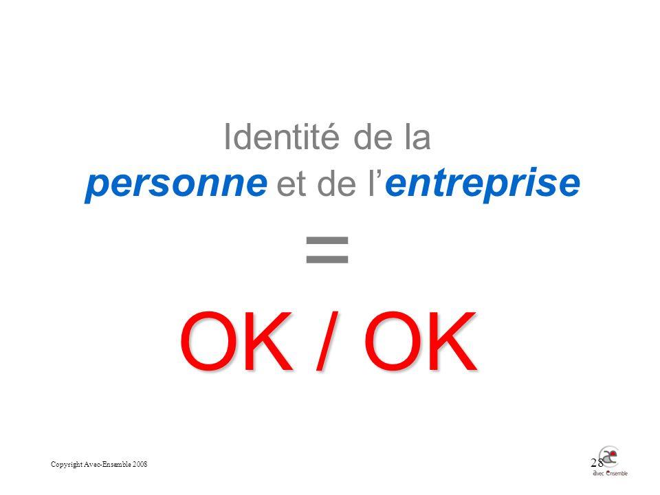 Copyright Avec-Ensemble 2008 28 Identité de la personne et de l entreprise = OK / OK