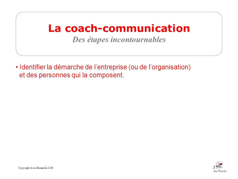 Copyright Avec-Ensemble 2008 37 La coach-communication Des étapes incontournables Identifier la démarche de lentreprise (ou de lorganisation) et des personnes qui la composent.