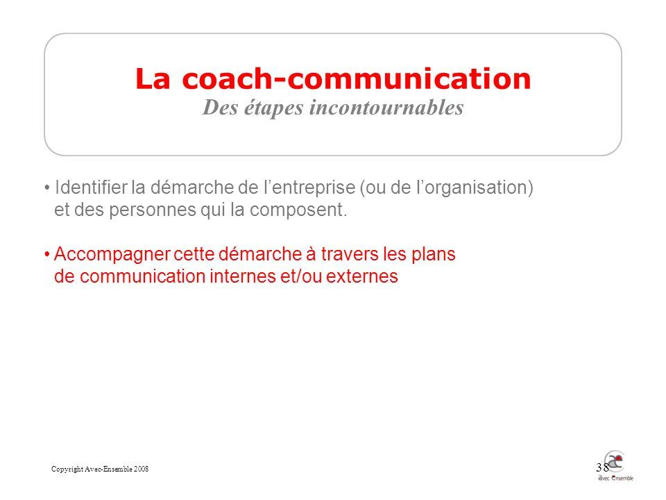 Copyright Avec-Ensemble 2008 38 La coach-communication Des étapes incontournables Identifier la démarche de lentreprise (ou de lorganisation) et des personnes qui la composent.