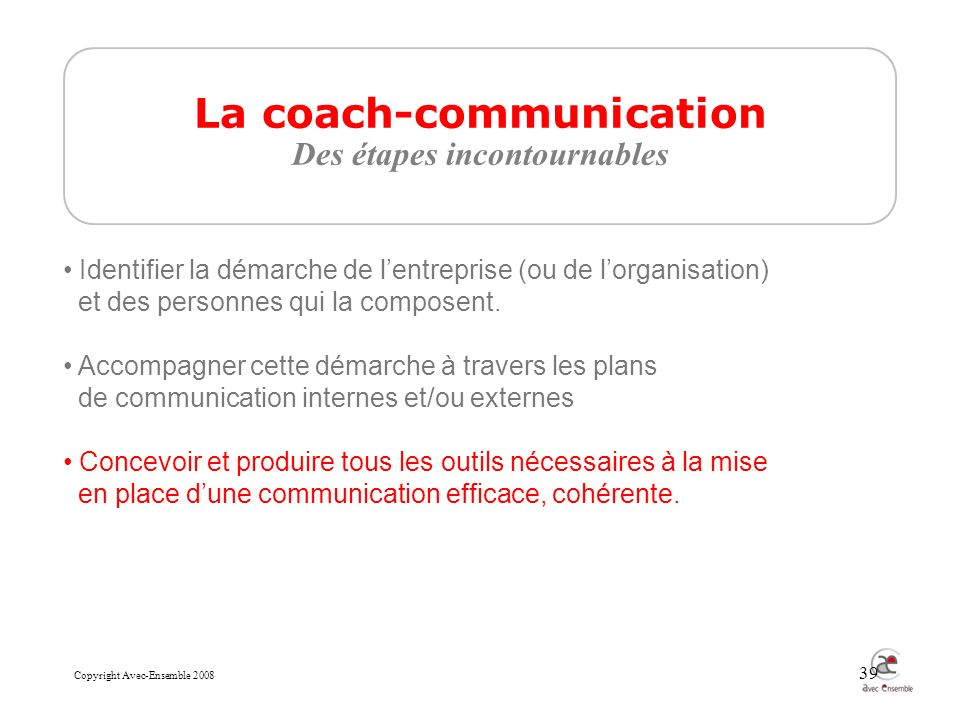 Copyright Avec-Ensemble 2008 39 La coach-communication Des étapes incontournables Identifier la démarche de lentreprise (ou de lorganisation) et des personnes qui la composent.