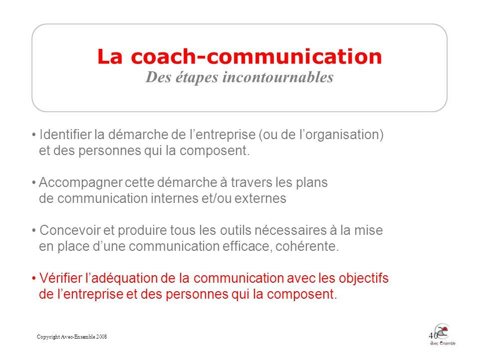 Copyright Avec-Ensemble 2008 40 La coach-communication Des étapes incontournables Identifier la démarche de lentreprise (ou de lorganisation) et des personnes qui la composent.