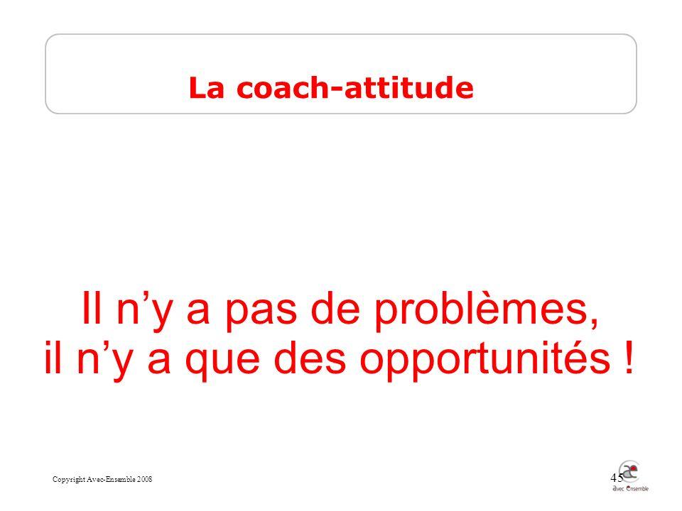 Copyright Avec-Ensemble 2008 45 Il ny a pas de problèmes, il ny a que des opportunités .