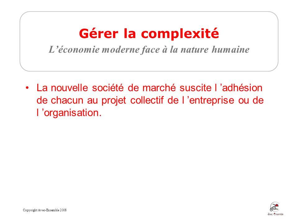 Copyright Avec-Ensemble 2008 6 Gérer la complexité Léconomie moderne face à la nature humaine La nouvelle société de marché suscite l adhésion de chacun au projet collectif de l entreprise ou de l organisation.