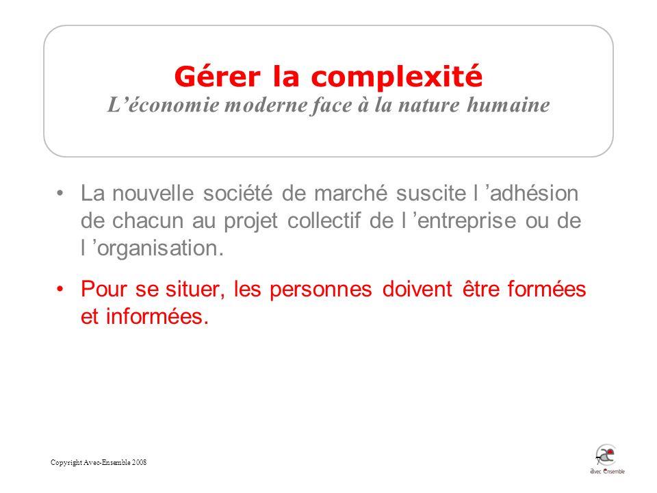 Copyright Avec-Ensemble 2008 7 Gérer la complexité Léconomie moderne face à la nature humaine La nouvelle société de marché suscite l adhésion de chacun au projet collectif de l entreprise ou de l organisation.