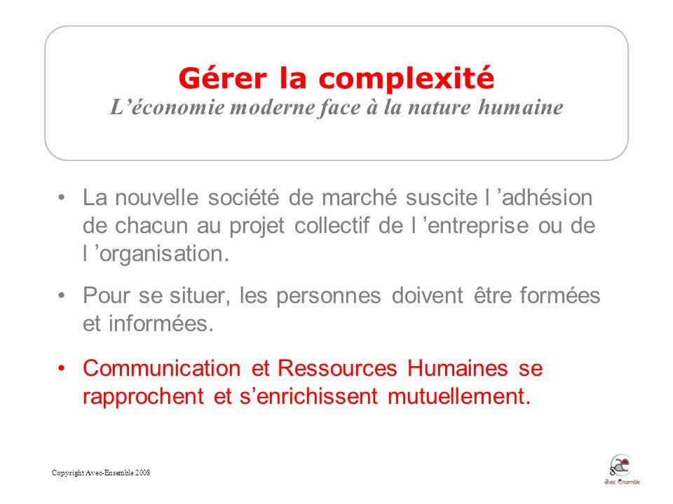 Copyright Avec-Ensemble 2008 8 La nouvelle société de marché suscite l adhésion de chacun au projet collectif de l entreprise ou de l organisation.