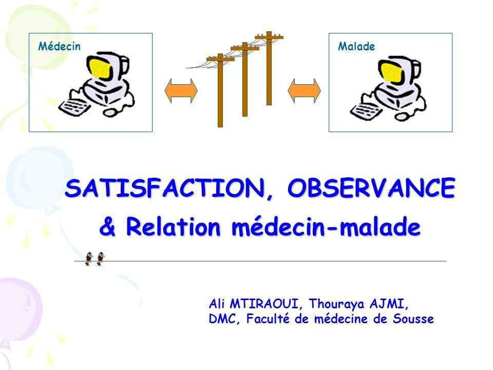 MaladeMédecin Ali MTIRAOUI, Thouraya AJMI, DMC, Faculté de médecine de Sousse SATISFACTION, OBSERVANCE & Relation médecin-malade