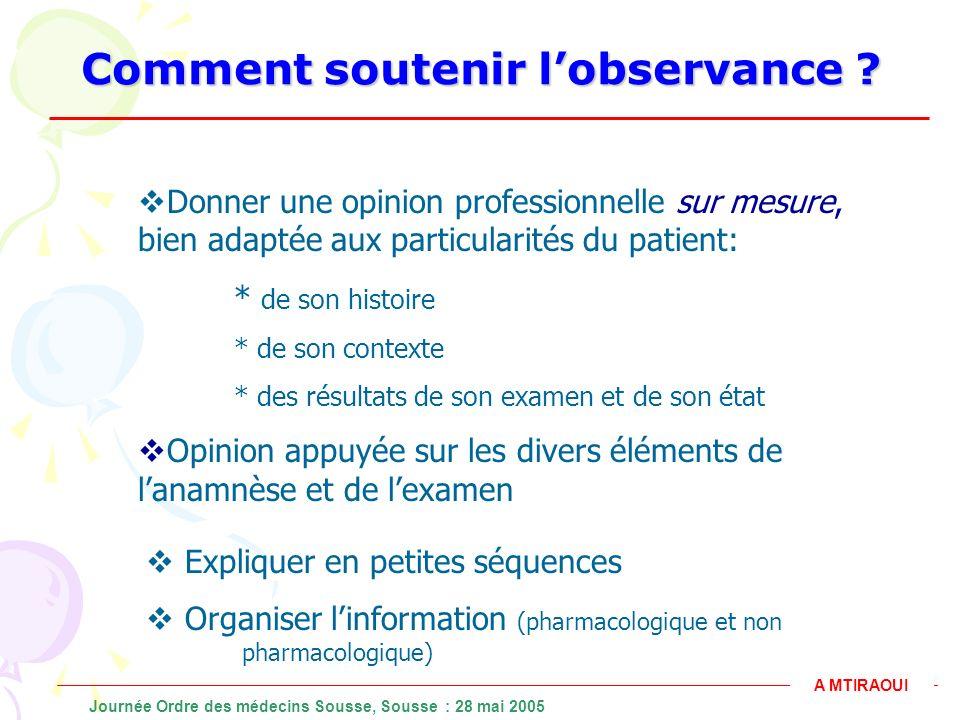 Comment soutenir lobservance ? Donner une opinion professionnelle sur mesure, bien adaptée aux particularités du patient: * de son histoire * de son c