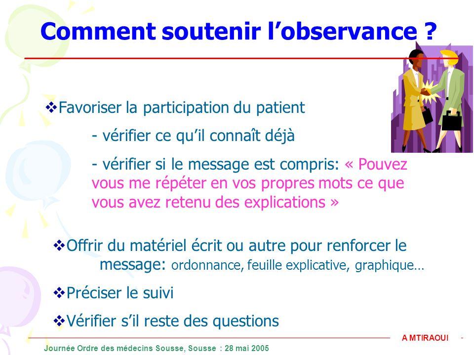 Comment soutenir lobservance ? Favoriser la participation du patient - vérifier ce quil connaît déjà - vérifier si le message est compris: « Pouvez vo