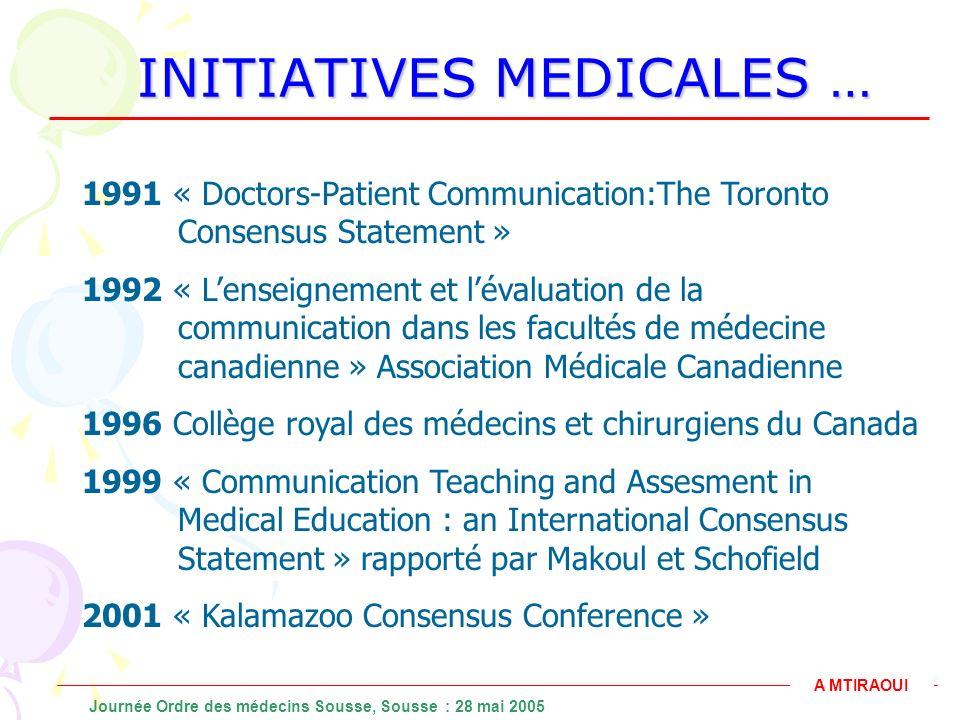 INITIATIVES MEDICALES … 1991 « Doctors-Patient Communication:The Toronto Consensus Statement » 1992 « Lenseignement et lévaluation de la communication