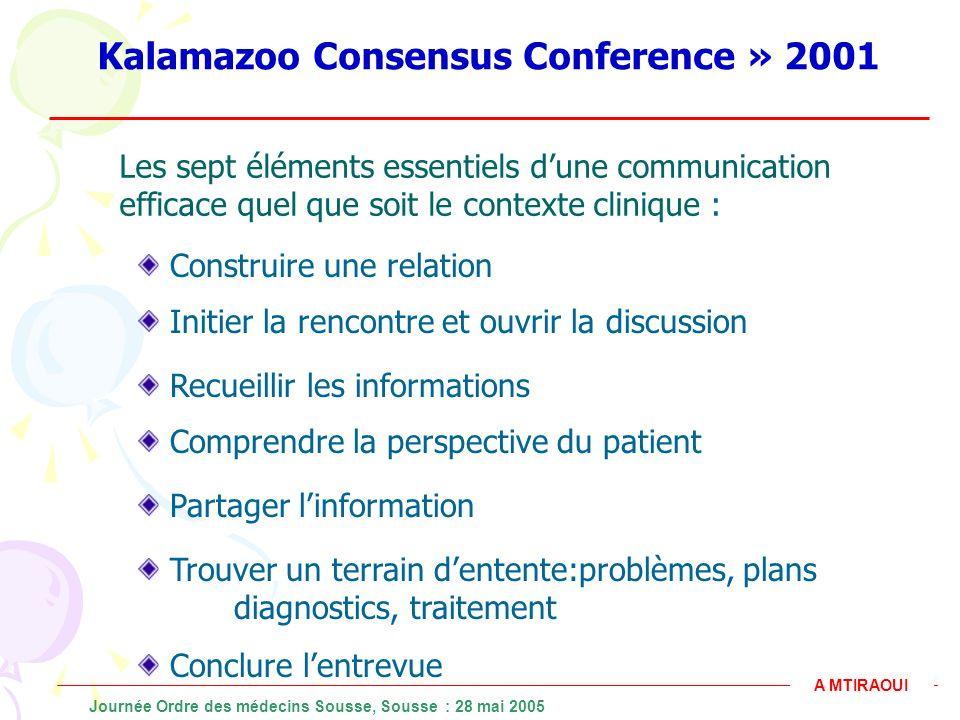 Kalamazoo Consensus Conference » 2001 Les sept éléments essentiels dune communication efficace quel que soit le contexte clinique : Construire une rel