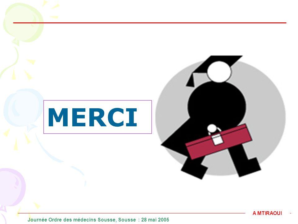 MERCI A MTIRAOUI Journée Ordre des médecins Sousse, Sousse : 28 mai 2005