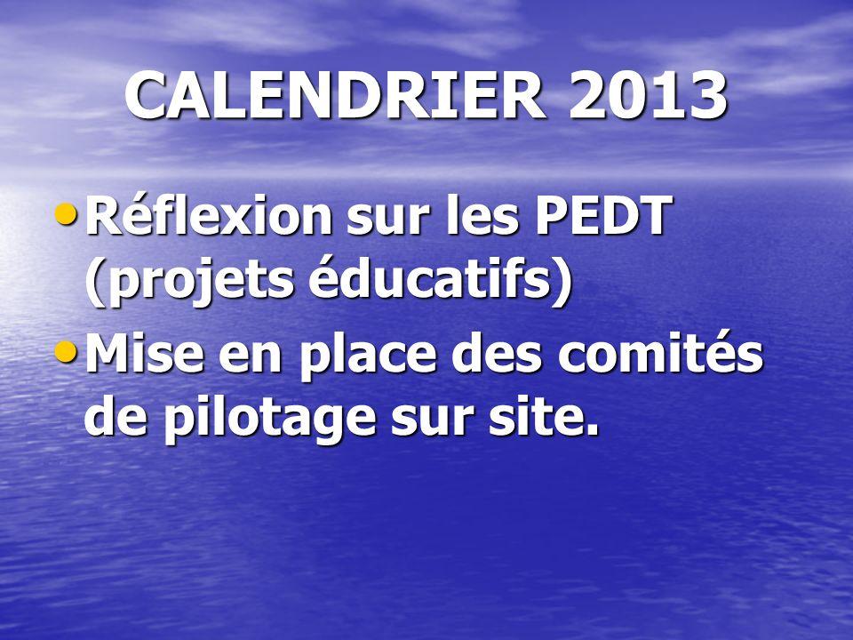 CALENDRIER 2013 Réflexion sur les PEDT (projets éducatifs) Réflexion sur les PEDT (projets éducatifs) Mise en place des comités de pilotage sur site.
