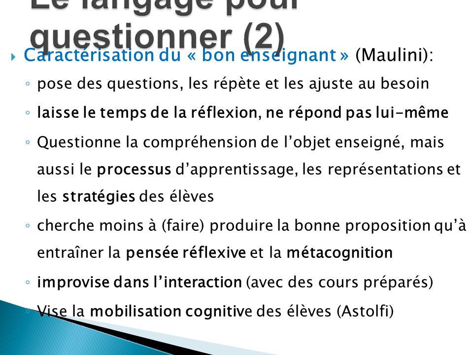 Caractérisation du « bon enseignant » (Maulini): pose des questions, les répète et les ajuste au besoin laisse le temps de la réflexion, ne répond pas