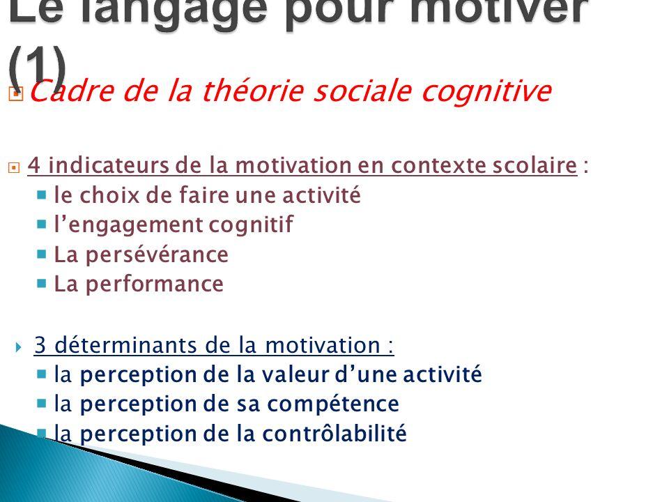 Cadre de la théorie sociale cognitive 4 indicateurs de la motivation en contexte scolaire : le choix de faire une activité lengagement cognitif La per
