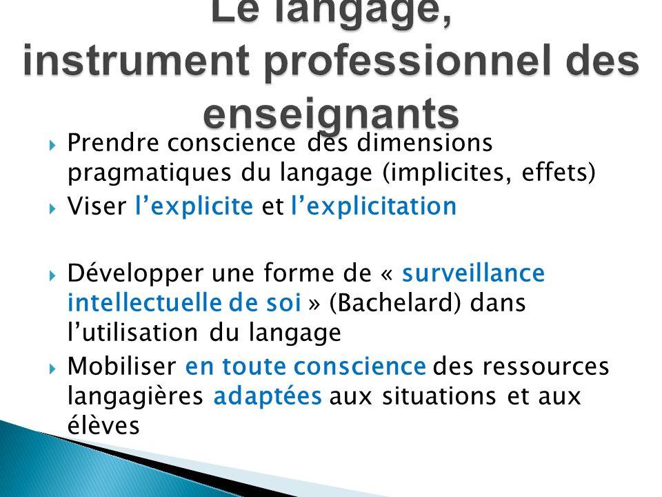 Prendre conscience des dimensions pragmatiques du langage (implicites, effets) Viser lexplicite et lexplicitation Développer une forme de « surveillan
