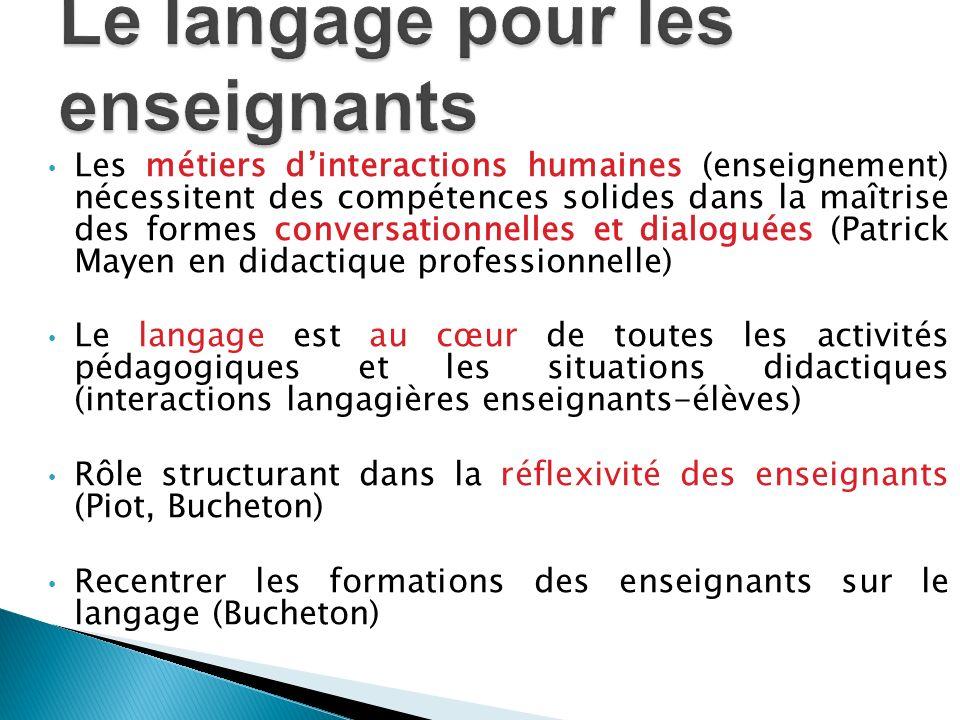Les métiers dinteractions humaines (enseignement) nécessitent des compétences solides dans la maîtrise des formes conversationnelles et dialoguées (Pa