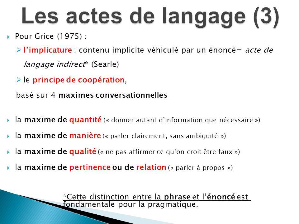 Pour Grice (1975) : limplicature : contenu implicite véhiculé par un énoncé= acte de langage indirect* (Searle) le principe de coopération, basé sur 4
