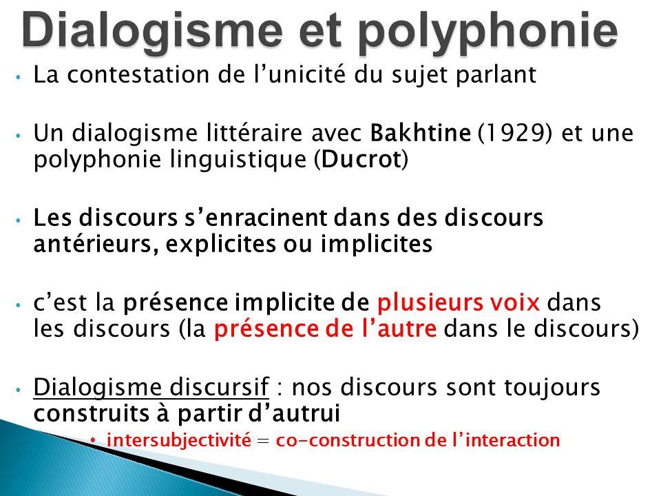 La contestation de lunicité du sujet parlant Un dialogisme littéraire avec Bakhtine (1929) et une polyphonie linguistique (Ducrot) Les discours senrac