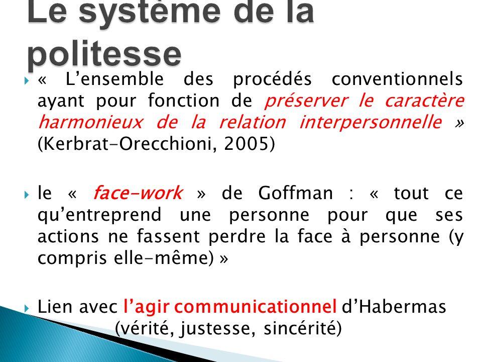 « Lensemble des procédés conventionnels ayant pour fonction de préserver le caractère harmonieux de la relation interpersonnelle » (Kerbrat-Orecchioni