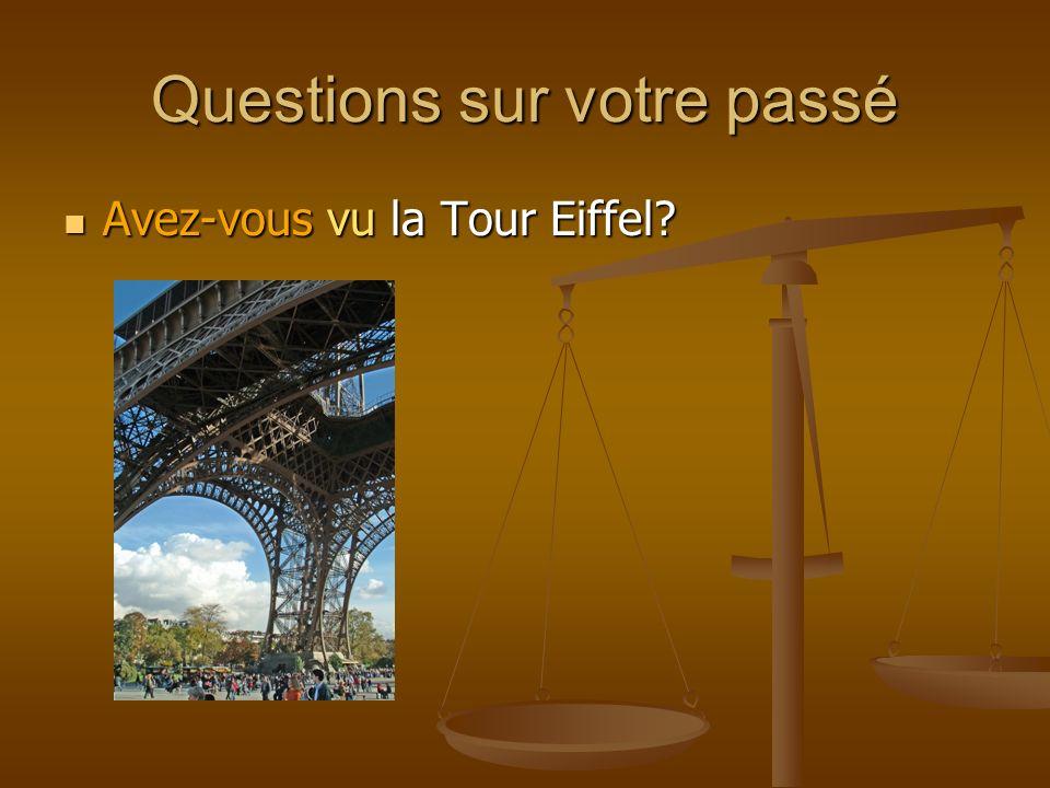 Questions sur votre passé Avez-vous vu la Tour Eiffel? Avez-vous vu la Tour Eiffel?