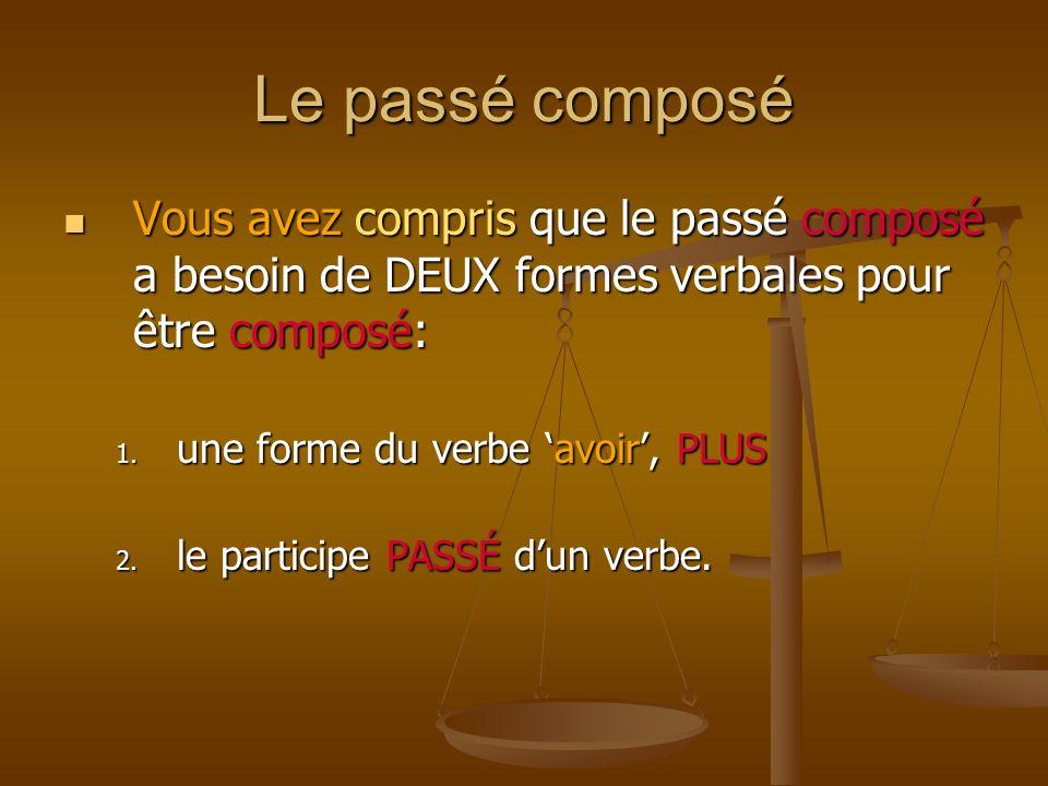 Le passé composé Vous avez compris que le passé composé a besoin de DEUX formes verbales pour être composé: Vous avez compris que le passé composé a besoin de DEUX formes verbales pour être composé: 1.