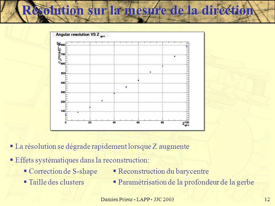 Damien Prieur - LAPP - JJC 200312 La résolution se dégrade rapidement lorsque Z augmente Effets systématiques dans la reconstruction: Correction de S-