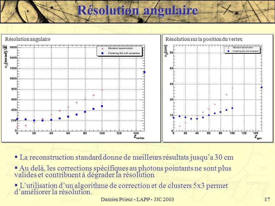 Damien Prieur - LAPP - JJC 200317 La reconstruction standard donne de meilleurs résultats jusqua 30 cm Au delà, les corrections spécifiques au photons