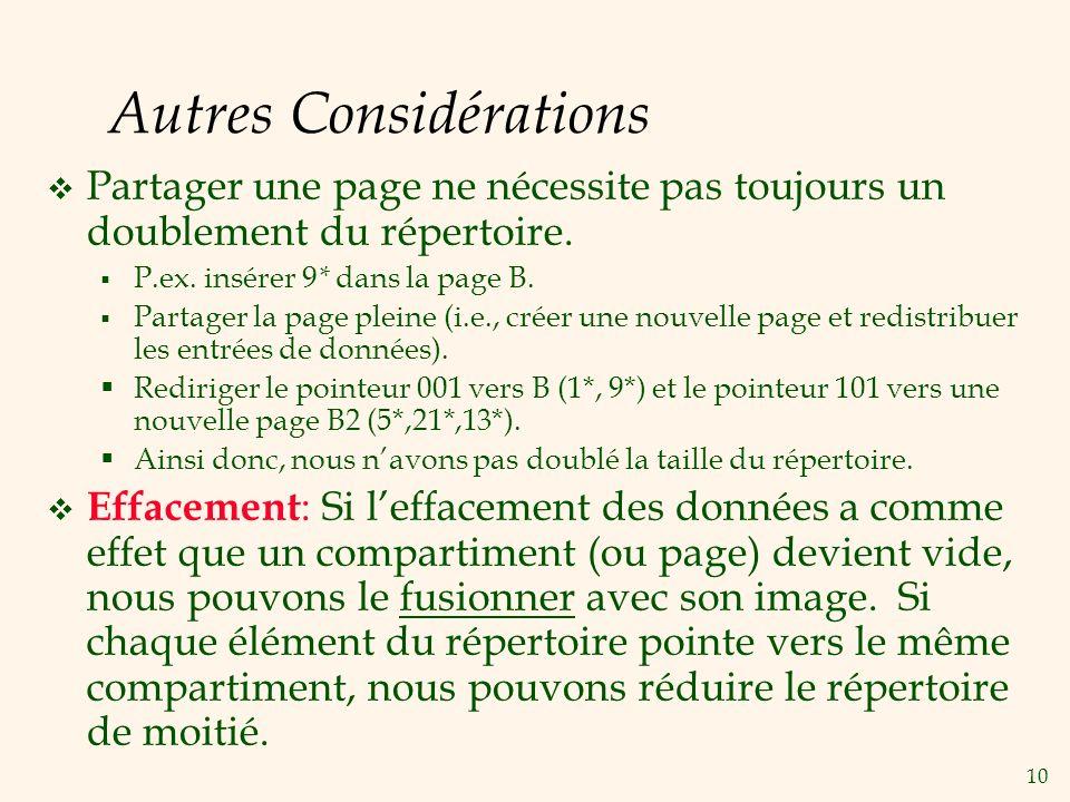 10 Autres Considérations Partager une page ne nécessite pas toujours un doublement du répertoire.