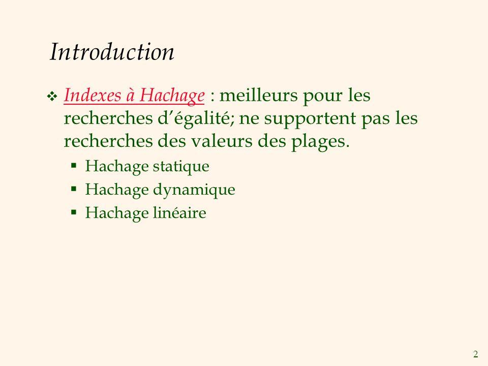 2 Introduction Indexes à Hachage : meilleurs pour les recherches dégalité; ne supportent pas les recherches des valeurs des plages.