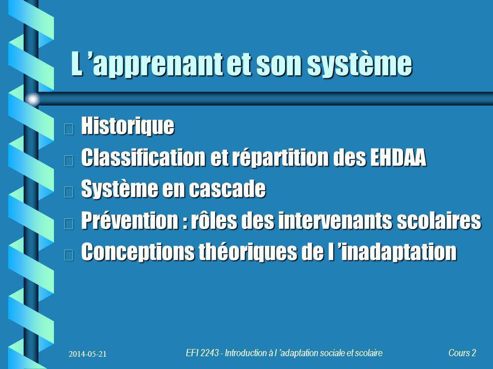 EFI 2243 - Introduction à l adaptation sociale et scolaire Cours 2 L apprenant et son système b Historique b Classification et répartition des EHDAA b