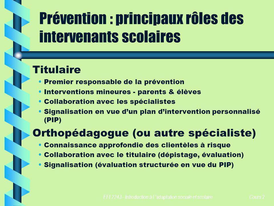 EFI 2243 - Introduction à l adaptation sociale et scolaire Cours 2 Prévention : principaux rôles des intervenants scolaires Titulaire Premier responsa