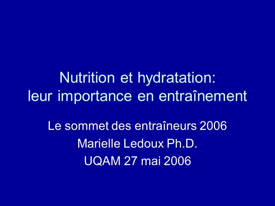 Nutrition et hydratation: leur importance en entraînement Le sommet des entraîneurs 2006 Marielle Ledoux Ph.D. UQAM 27 mai 2006
