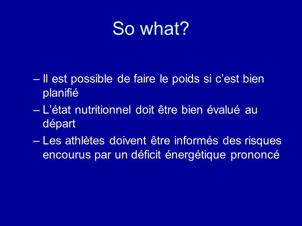 So what? –Il est possible de faire le poids si cest bien planifié –Létat nutritionnel doit être bien évalué au départ –Les athlètes doivent être infor
