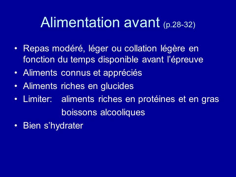 Alimentation avant (p.28-32) Repas modéré, léger ou collation légère en fonction du temps disponible avant lépreuve Aliments connus et appréciés Alime