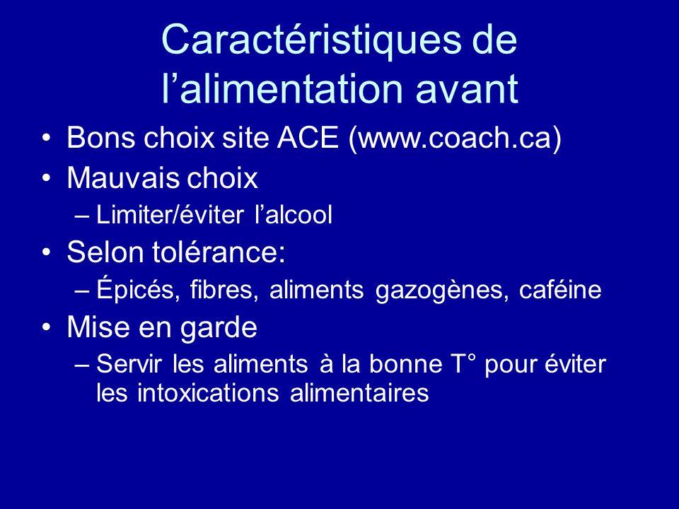 Caractéristiques de lalimentation avant Bons choix site ACE (www.coach.ca) Mauvais choix –Limiter/éviter lalcool Selon tolérance: –Épicés, fibres, ali