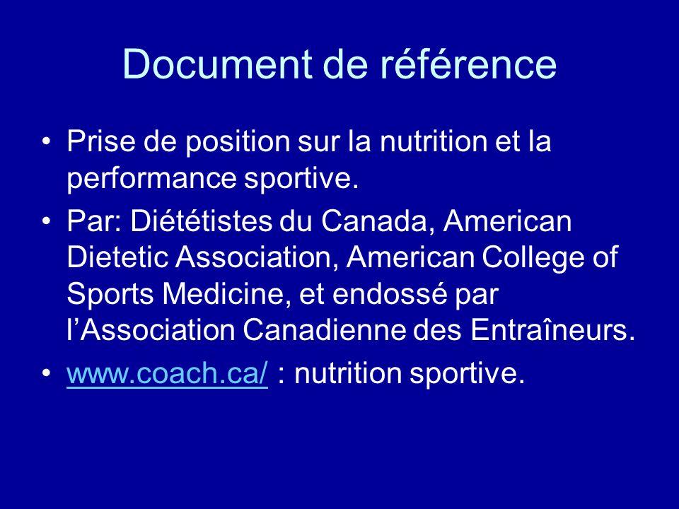 Document de référence Prise de position sur la nutrition et la performance sportive. Par: Diététistes du Canada, American Dietetic Association, Americ