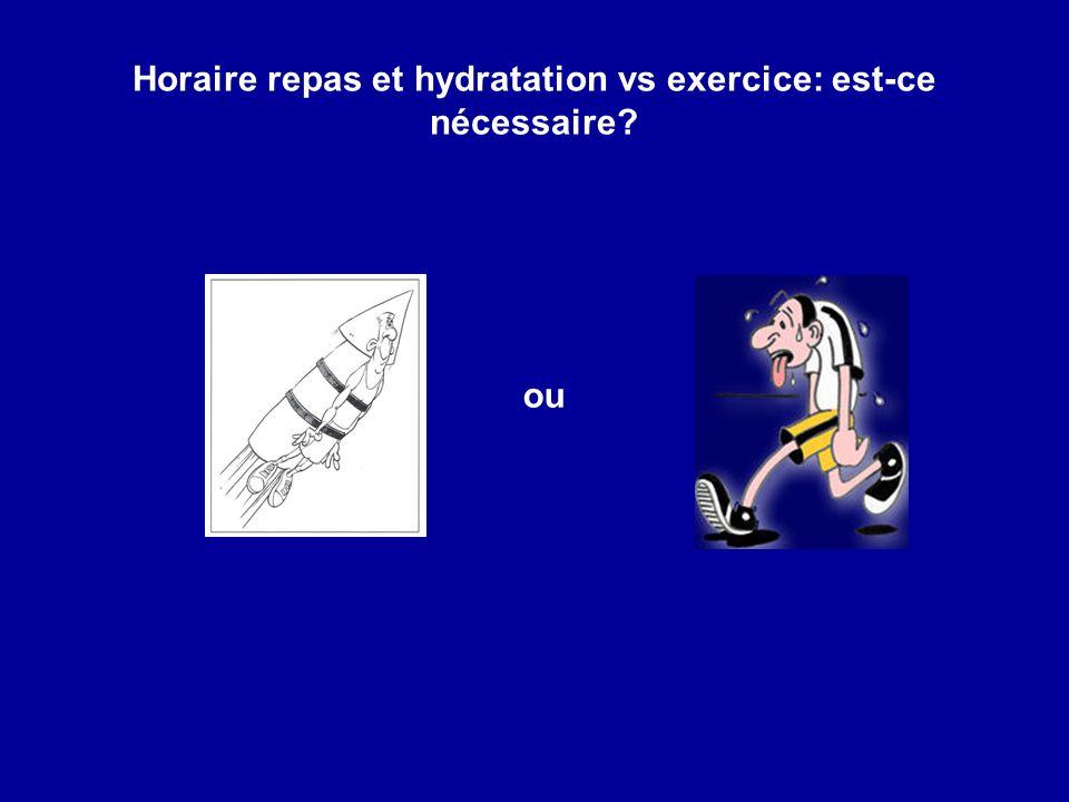 Horaire repas et hydratation vs exercice: est-ce nécessaire? ou
