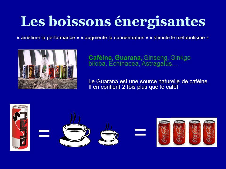 Les boissons énergisantes Caféine, Guarana, Ginseng, Ginkgo biloba, Echinacea, Astragalus… Le Guarana est une source naturelle de caféine Il en contie
